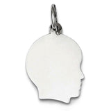14K White Gold Boy's Head Charm (12 x 21 mm) - JewelryAffairs  - 1
