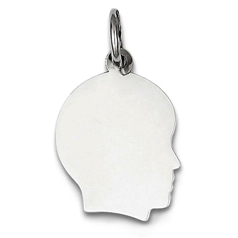 14K White Gold Boy's Head Charm (18 x 28 mm) - JewelryAffairs  - 1