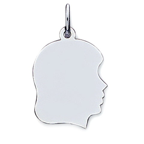 14K White Gold Girl's Head Charm (18 x 25 mm) - JewelryAffairs  - 1