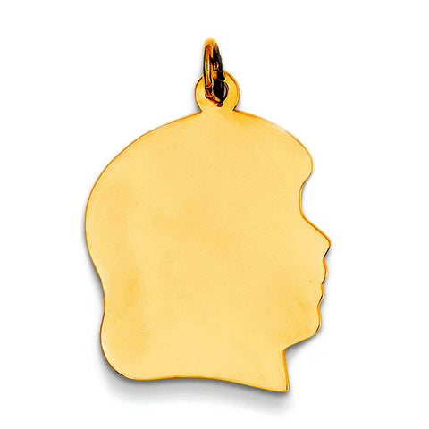 14K Yellow Gold Girl's Head Charm (17 x 25mm) - JewelryAffairs  - 1