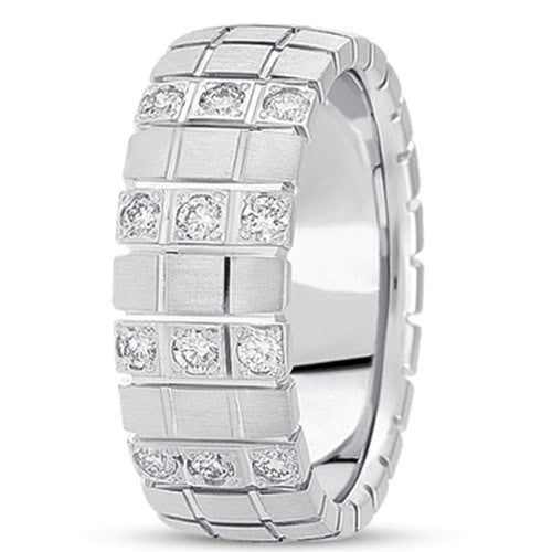 0.18ctw Diamond 14K Gold  Wedding Band (8mm) - (F - G Color, SI2 Clarity) - JewelryAffairs