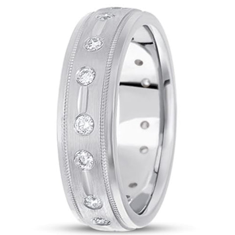 0.48ctw Diamond 14K Gold  Wedding Band (7mm) - (F - G Color, SI2 Clarity) - JewelryAffairs