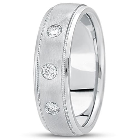 0.21ctw Diamond 14K Gold  Wedding Band (7mm) - (F - G Color, SI2 Clarity) - JewelryAffairs