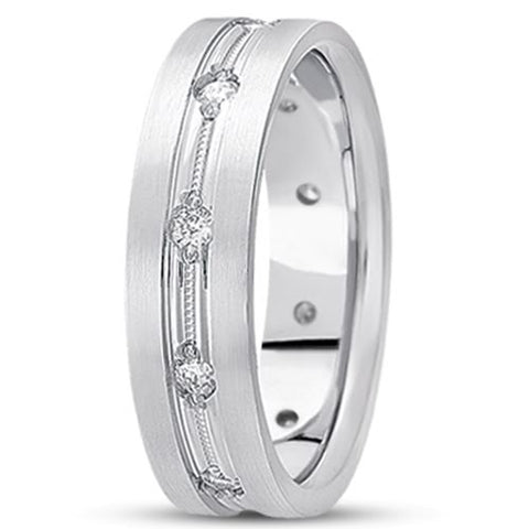 0.50ctw Diamond 14K Gold  Wedding Band (7mm) - (F - G Color, SI2 Clarity) - JewelryAffairs