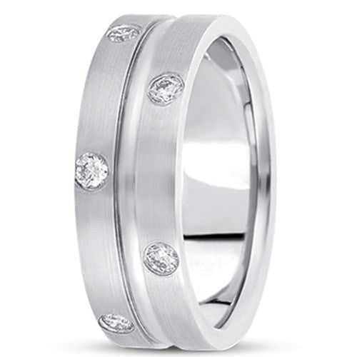 0.48ctw Diamond 14K Gold  Wedding Band (8mm) - (F - G Color, SI2 Clarity) - JewelryAffairs