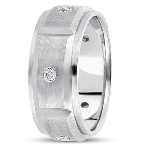 0.30ctw Diamond 14K Gold  Wedding Band (8mm) - (F - G Color, SI2 Clarity) - JewelryAffairs