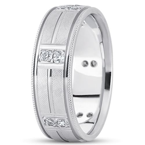 0.24ctw Diamond 14K Gold  Wedding Band (10mm) - (F - G Color, SI2 Clarity) - JewelryAffairs