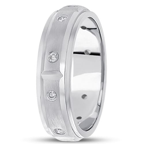 0.30ctw Diamond 14K Gold  Wedding Band (6mm) - (F - G Color, SI2 Clarity) - JewelryAffairs