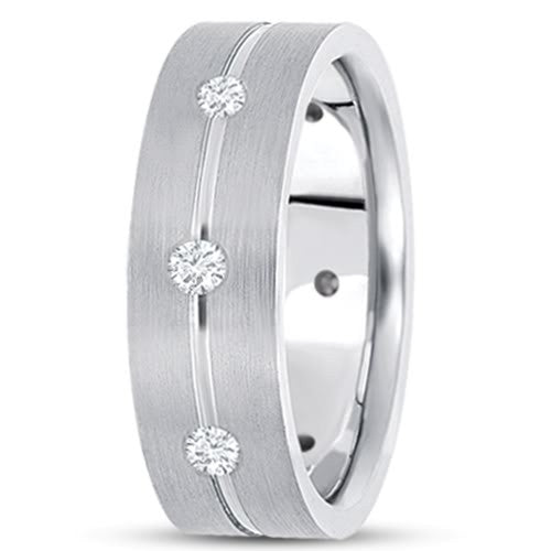 0.56ctw Diamond 14K Gold  Wedding Band (7mm) - (F - G Color, SI2 Clarity) - JewelryAffairs