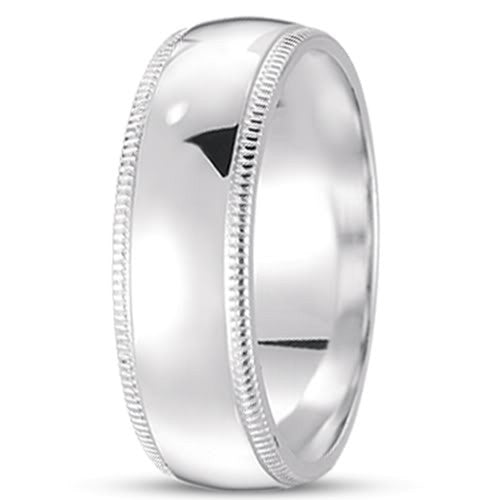 14K Gold Mens Classic Milgrain Wedding Band (7mm) - JewelryAffairs