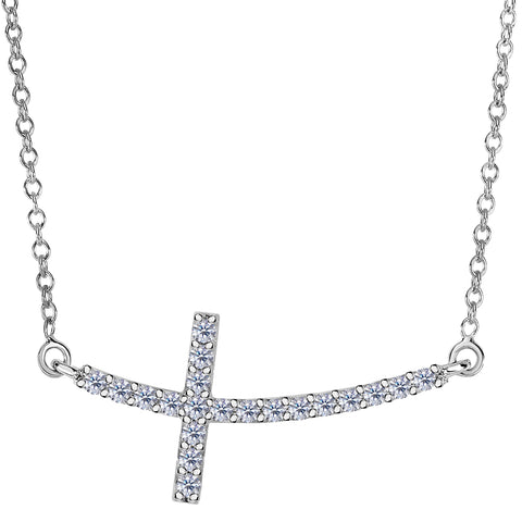 14k White Gold With 0.22ct Diamonds Curved Side Ways Cross Necklace - 18 Inches - JewelryAffairs  - 1