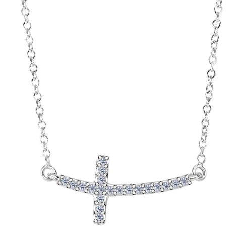 14k White Gold With 0.12ct Diamonds Curved Side Ways Cross Necklace - 18 Inches - JewelryAffairs  - 1