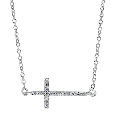 14k White Gold With 0.07ct Diamonds Side Ways Cross Necklace - 18 Inches - JewelryAffairs  - 1