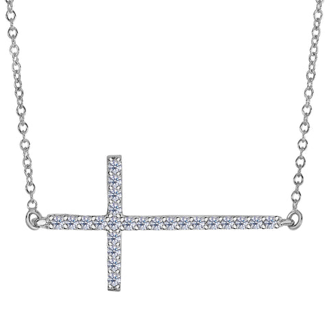 14k White Gold With 0.25ct Diamonds Side Ways Cross Necklace - 18 Inches - JewelryAffairs  - 1