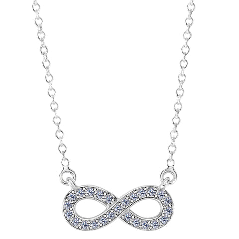 14K White Gold With 0.15 Ct Diamonds Infinity Necklace - 18 Inches - JewelryAffairs  - 1