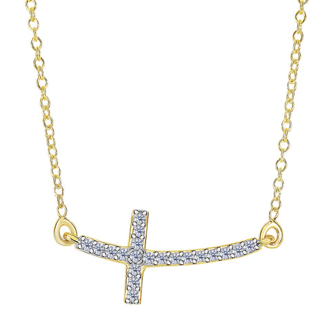 14k Yellow Gold With 0.12ct Diamonds Curved Side Ways Cross Necklace - 18 Inches - JewelryAffairs  - 1