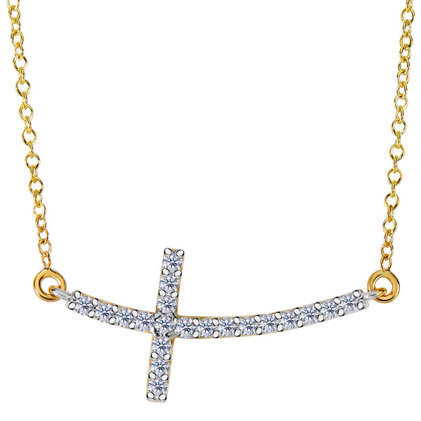 14k Yellow Gold With 0.22ct Diamonds Curved Side Ways Cross Necklace - 18 Inches - JewelryAffairs  - 1