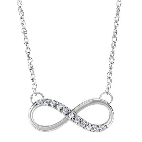 14K White Gold With 0.10 Ct Diamonds Infinity Necklace - 18 Inches - JewelryAffairs  - 1