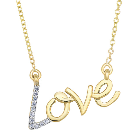 14K Yellow Gold With 0.07 Ct Diamonds Script Love Necklace - 18 Inches - JewelryAffairs  - 1