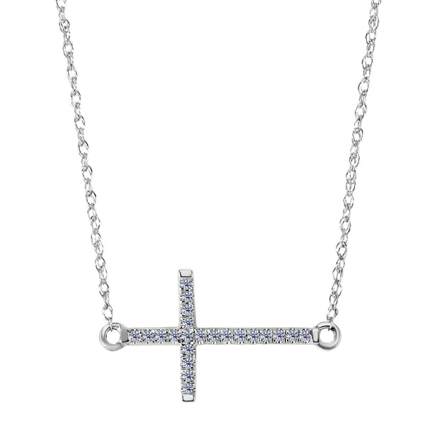 14k White Gold With 0.05ct Diamonds Side Ways Cross Necklace - 18 Inches - JewelryAffairs  - 1