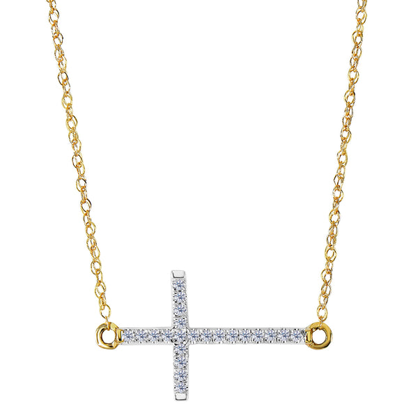 14k Yellow Gold With 0.05ct Diamonds Side Ways Cross Necklace - 18 Inches - JewelryAffairs  - 1