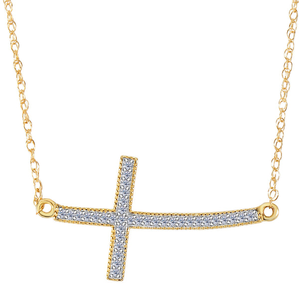14k Yellow Gold With 0.08ct Diamonds Curved Side Ways Cross Millgrain Necklace - 18 Inches - JewelryAffairs  - 1
