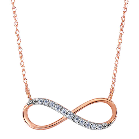 14K Rose Gold With 0.10 Ct Diamonds Infinity Necklace - 18 Inches - JewelryAffairs  - 1
