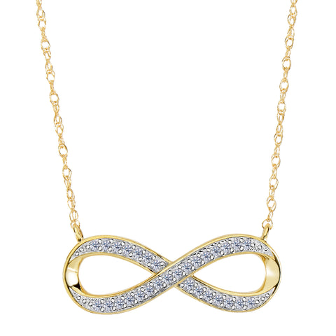 14K Yellow Gold With 0.10 Ct Diamonds Infinity Necklace - 18 Inches - JewelryAffairs  - 1