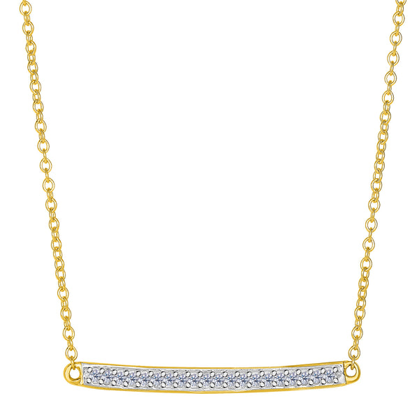 14k Yellow Gold 0.12Ct Diamond Bar Necklace - 18 Inch - JewelryAffairs  - 1