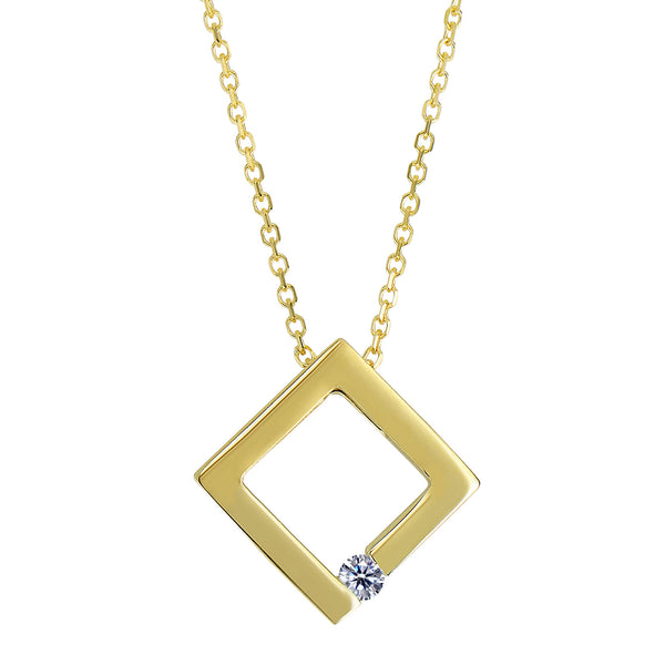14k Yellow Gold 0.03Ct Diamond Open Circle Necklace - 18 Inch - JewelryAffairs  - 1