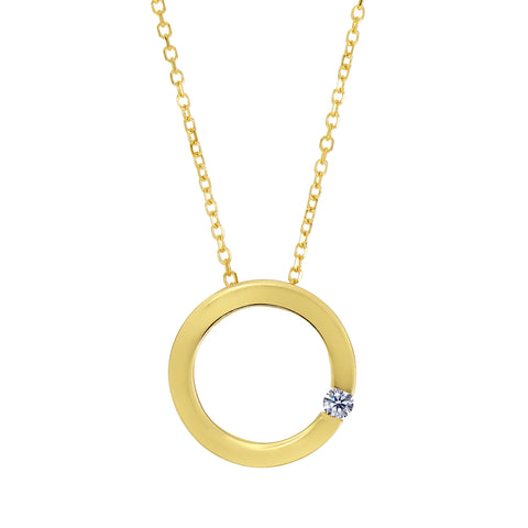 14k Yellow Gold 0.03Ct Diamond Open Square Necklace - 18 Inch - JewelryAffairs  - 1