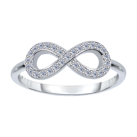 14K White Gold Diamond Infinity Ring - 0.18Ct - JewelryAffairs  - 1