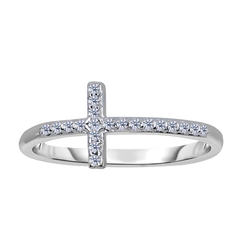 14K White Gold Diamond Sideways Cross Ring - 0.12Ct - JewelryAffairs  - 1
