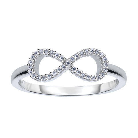 14K White Gold Diamond Infinity Ring - 0.10Ct - JewelryAffairs  - 1
