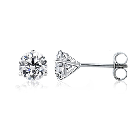 14k White Gold Round Diamond Stud Martini Earrings (0.25 cttw F-G Color, SI2 Clarity) - JewelryAffairs  - 1