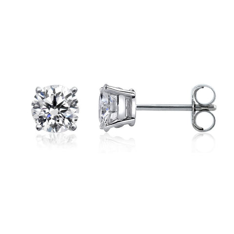 14k White Gold Round Diamond Stud Earrings (0.41 cttw F-G Color, SI2 Clarity) - JewelryAffairs  - 1