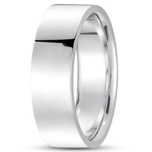 14K Gold Mens Flat Wedding Band (7mm) - JewelryAffairs