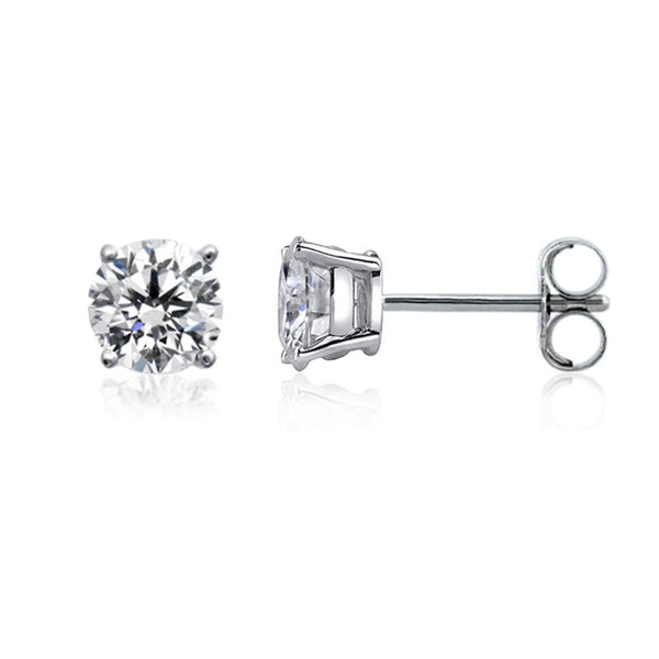 14k White Gold Round Diamond Stud Earrings (0.10 cttw H-I Color, VS2 Clarity) - JewelryAffairs  - 1