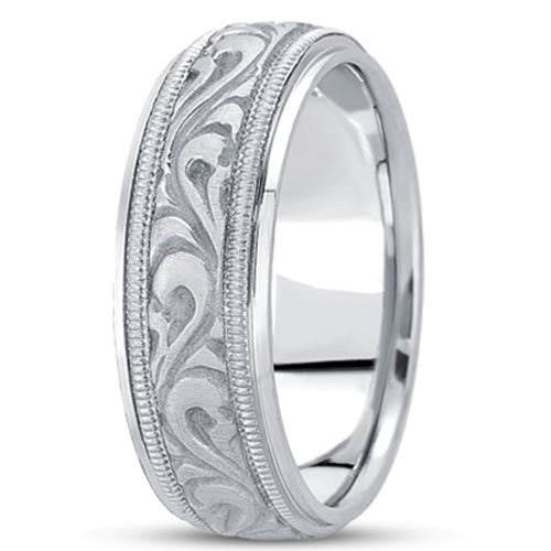 14K Gold Mens Hand Made Engraved Wedding Band (7.5mm) - JewelryAffairs
