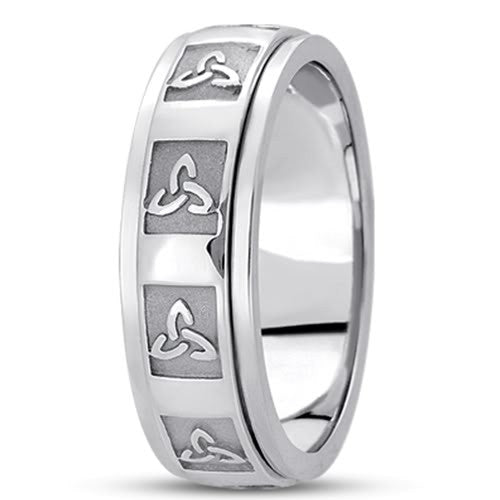 14K Gold Mens Hand Made Celtic Design Wedding Band (7mm) - JewelryAffairs