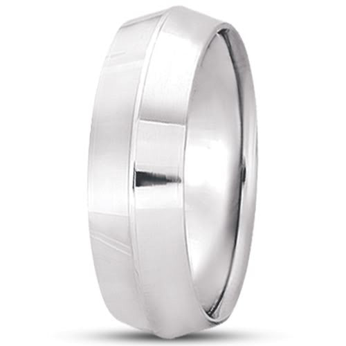 14K Gold Mens Knife Edge Wedding Band (7mm) - JewelryAffairs