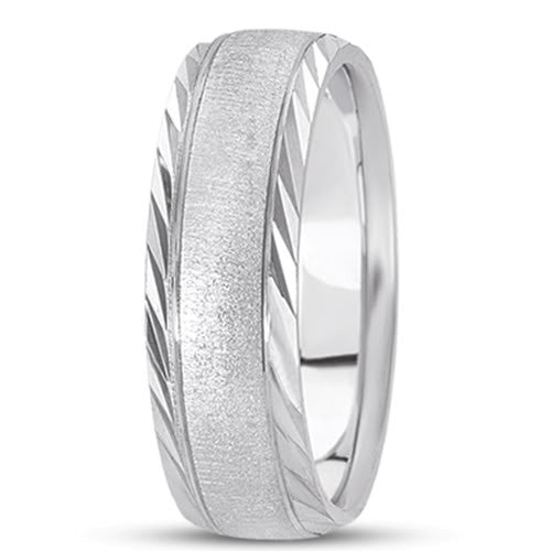 14K Gold Mens Fancy Wedding Band (6mm) - JewelryAffairs
