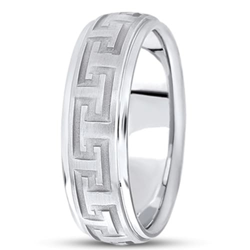 14K Gold Mens Greek Key Wedding Band (7mm) - JewelryAffairs