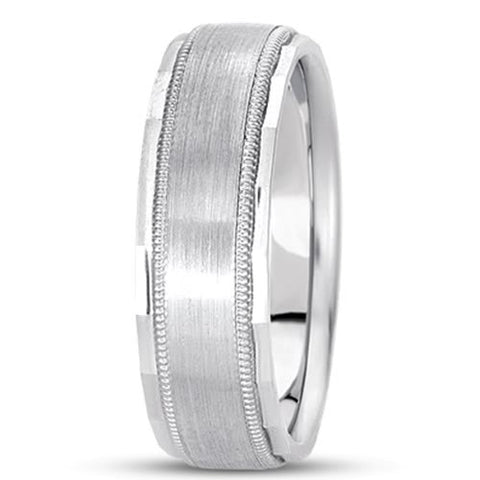 14K Gold Mens Fancy Mlgrain Wedding Band (7mm) - JewelryAffairs