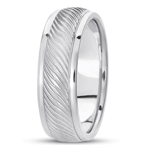14K Gold Mens Fancy Weavy Wedding Band (7mm) - JewelryAffairs