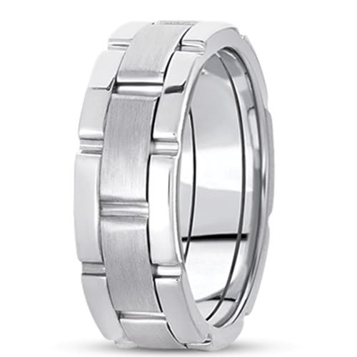 14K Gold Mens Fancy Wedding Band (8.5mm) - JewelryAffairs