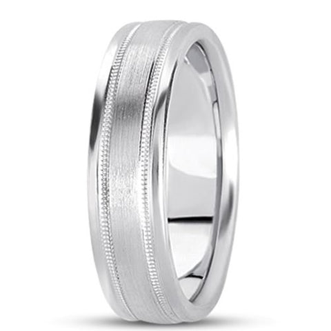 14K Gold Mens Fancy Milgrain Wedding Band (8mm) - JewelryAffairs
