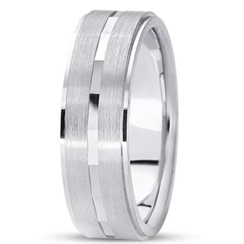 14K Gold Mens Fancy Wedding Band (7mm) - JewelryAffairs