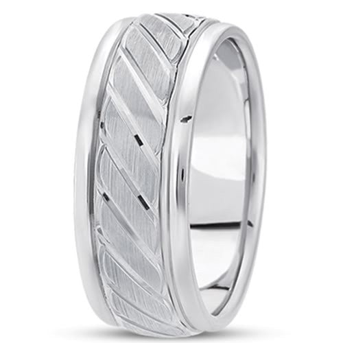 14K Gold Mens Fancy Wedding Band (9mm) - JewelryAffairs