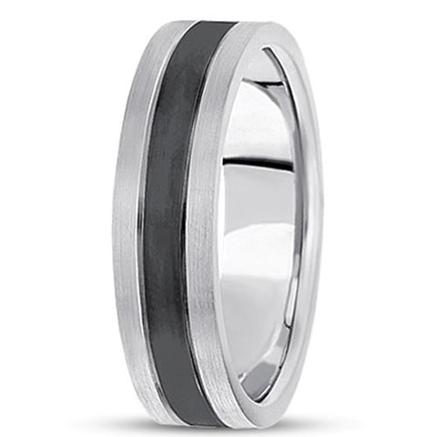 14K Gold Mens Fancy Black Rhodium Wedding Band (6.5mm) - JewelryAffairs